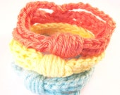 Crochet Chain Cuff Bracelets - Set of 3 - Salmon, Yellow, Soft Baby Blue - pulpsushi