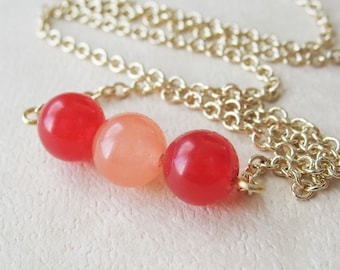 Red and Peach Berry Jade Bead Necklace