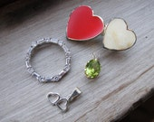 Hearts and Sparkles: Mixed Vintage Jewelry Lot- 3 Pendants 1 Brooch 10K Gold Sterling Silver Peridot