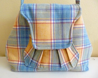 Plaid Merino Wool Shoulder Bag, Pastel Yellow and Blue Purse, Womens Fashion Bag