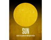 11x14 Sun Art Print, Astronomy Solar System Poster, Cosmology Geek Chic Nerd Decor, Star At the Center of Our Universe, Yellow Drwarf