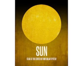 16x20 Sun Poster, Astronomy Art Print, Yellow Star, Center of the Universe, Solar System Diagram