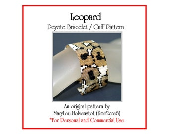 Peyote Bracelet Pattern ... LEOPARD ... Wild Animal . Africa . Big Cat . Spotted . Animal Print . Camouflage . Abstract . Nature . 3 for 2