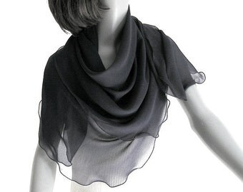 "Black Square Scarf, Large Square Wrap, Pure Silk Chiffon, Solid Black Wrap, Black Sheer Scarf, Artisan Handmade, M L  42"" x 42"", Artinsilk"