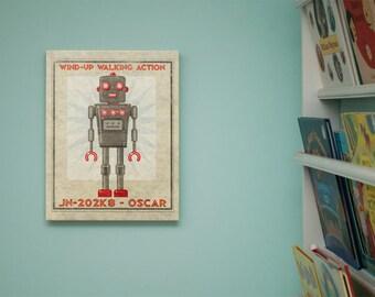 """Retro Robot Art Print Box- Oscar Robot Sci Fi Wall Art- 11"""" x 14"""" Robot Wall Decor for Kids- Retrobot Series from Land of Nod- Childrens Art"""