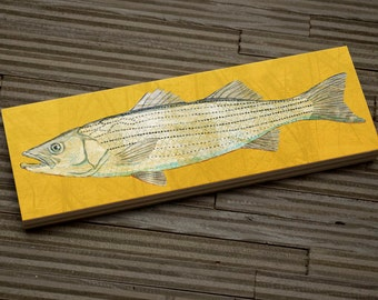 "Medium Freshwater Fish Art for Boys Art Block- Striped Bass Art- 9""x3"" Fish Wall Decor Fisherman Gift for Dad- Gifts Lake House Fish Prints"