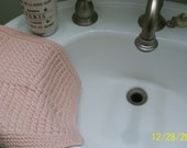 Hand knit knitted Peruvian  cotton spa wash dish cloth baby wipe modal silk  large pink ballet