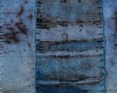 BATIK Fiber art turquoise teal black violet original  appliqued embroidered primitive  abstract wall art OOAK