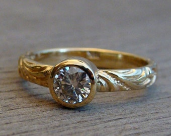 Moissanite Engagement / Wedding Ring in Recycled 18k Yellow Gold with Patterned Band - Eco-Friendly Diamond Alternative, Made To Order