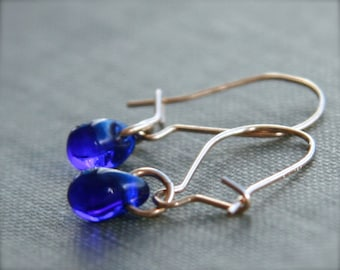 teeny tiny cobalt earrings (cobalt blue glass. 14kt gold filled wire)