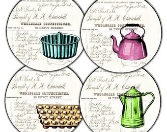 Kitchen ware 1910 collage Coasters set of 4 vintage pink teapot lime green coffee pot blue cake and orange cupcake pan