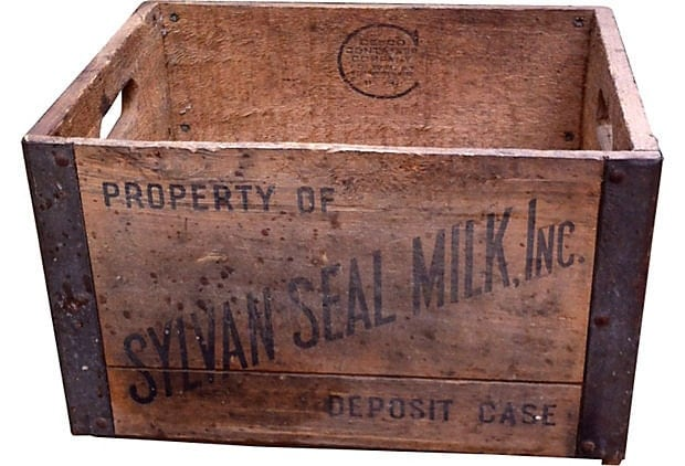 Vintage Wooden Sylvan Seal Milk Crate Lp Record Storage Box
