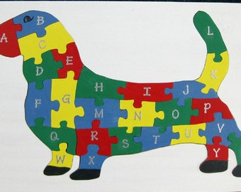 Children's Wood Dog Alphabet Puzzle