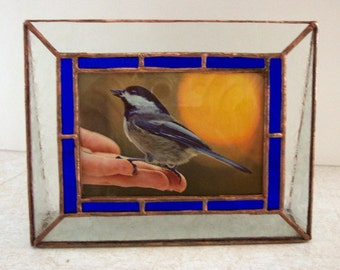 Stained Glass Picture Frame, Blue Border