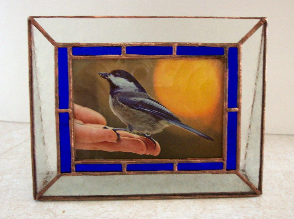 stained glass picture frame blue border