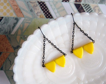 modern tribal warrior earrings- yellowtriangle chandelier dangles- geometric arrowheads