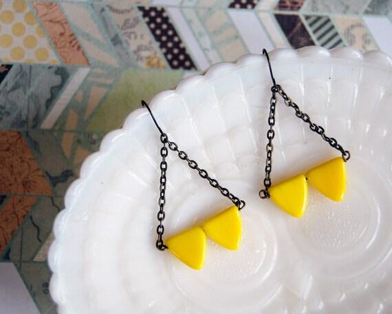 modern tribal warrior earrings- yellowtriangle chandelier dangles- geometric arrowheads