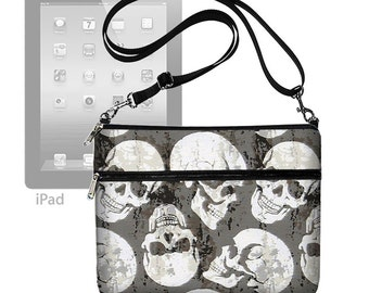 Cute iPad Case Skulls Tablet Case iPad Air 2 Purse Adjustable Strap Crossbody Bag CrossBody Purse Steampunk Goth Black Gray RTS