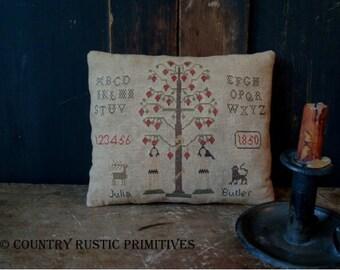 Primitive Adam & Eve Cupboard Keep Pillow Cross Stitch E Pattern PDF