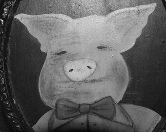Three Little Pigs  Folk Art Fairytale Portrait in oval Frame OOAK Pig in Overalls Fairy Tale from The Cat's Pyjamas