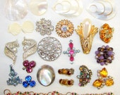 Lot Jewelry Parts Single Earrings Vintage Rhinestones MOP Craft Collection Color