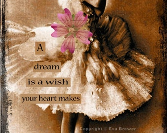 A dream is a wish  Original collage altered art steampunk collage print