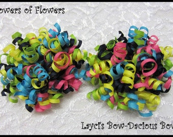 SHOWERS of FLOWERS Korker Hair Bow Set, set of 2, korkers, hair bows for girls, birthday bows, international shipping