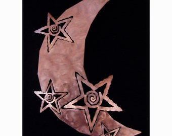 Metal Moon - Moon with Stars Metal Wall Art - Copper Finish - Celestial sculpture - 18 Inch