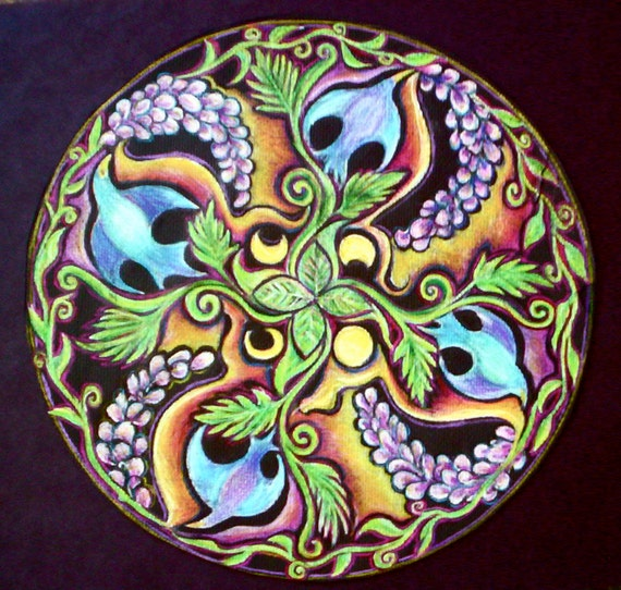 Items similar to Sprouting Spring Mandala Drawing - Matted ...