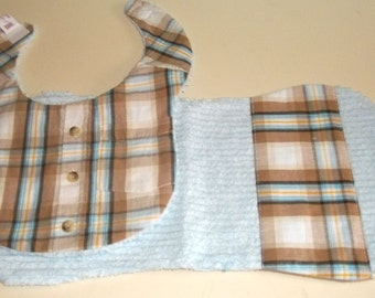 Upcycled Button Down Plaid Shirt Baby Boy Bib and Burp Pad