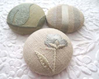 Beige/seafoam mix - 3 fabric covered buttons - 1.5 inches - size 60  - only one set available