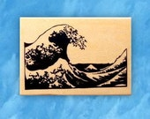 The Great Wave off Kanagawa wood mounted rubber stamp Japanese, Hokusai, Mt Fuji, Sweet Grass Stamps No.12