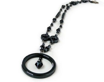 Hematite Necklace Wire wrapped Circle Pandant
