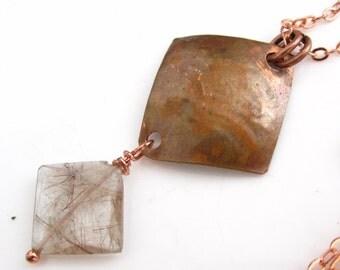 Squared Necklace - Copper Rutilated Quartz and Copper Square