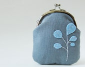 Tall coin purse - blue leaves on gray linen - oktak