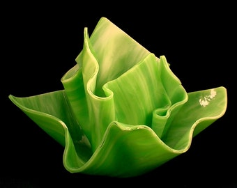 Vase Candle Set - Spring Green Opal Vase & Dish with Free Spring Rain Candle Soy, Paraffin Wax Blend, Paper Core, Self-trimming Wick Candle