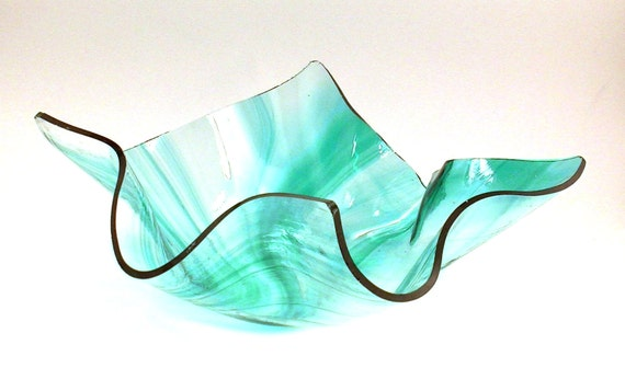 Vase candle teal on clear baroque glass slumped dish for Clear baroque glass
