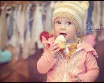Child Toddler Teen Knit Bear HAT PHoTO PRoP Boy Girl Stripe ANiMal BeANiE Pick Colors BeAR FoX CaT EaRS Kids Toque UNiSeX Tan Ivory Cap GIFT