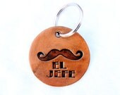 Personalized Keychain Moustache Leather Embossed