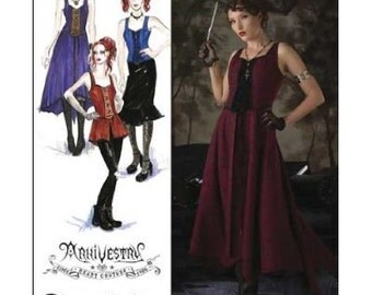 Simplicity 2757 Sewing Pattern Dress Overdress Bustier Steampunk Vampire Goth Haunt Couture Size HH Womens Size 6-12