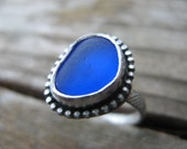 sea glass ring -cobalt blue- rustic silver - size 6