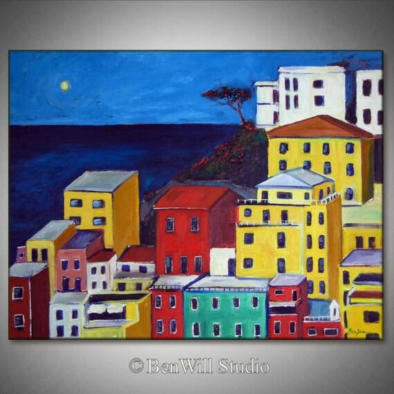 ORIGINAL Landscape Oil Painting PORTOFINO ITALY Art Colorful Seaside Italian Art 36x28 by BenWill