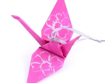 Large Silver Cherry Blossoms on Fuchsia Pink Handpainted Origami Crane Ornament Home Decor