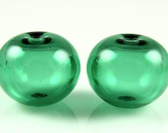 Regular Hollow SALE - Light Emerald Green Hollow Lampwork Glass Bead Pairs
