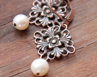 Antiqued Copper & Freshwater Pearl Earrings