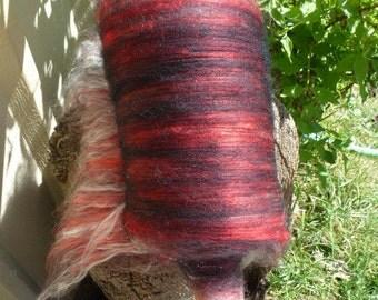 Wool Silk Alpaca Tartan Half Batt 4.5  Ounces Spinning or Felting