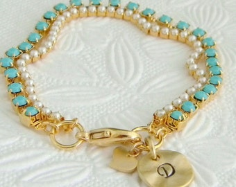 Personalized Initial Pearl Turquoise Heart Charm Bracelet