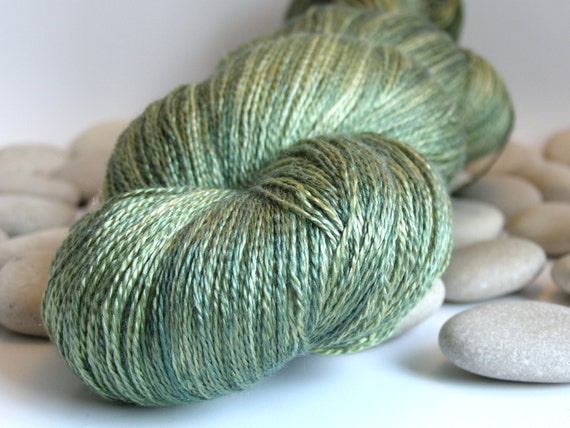 Hand Dyed Yarn, Silk Lace Yarn, Variegated, 980yds - Moss