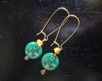 Good Fortune - beaded asian green dangle earrings Chinese lucky characters