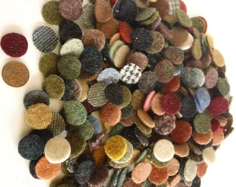 200 -  3/4 inch wool penny rug circles - mixed